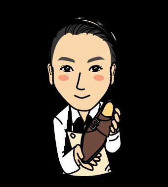 横井さん似顔絵イラスト黒髪茶靴